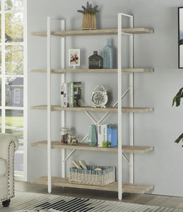 Budget friendly homissue 5 shelf modern style bookshelf light oak shelves and white metal frame display storage rack for collection 70 0 inch height