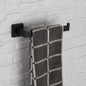 Products luckin towel bar set black modern bathroom accessories set matte black bath towel rack set with toilet paper holder 4 pcs