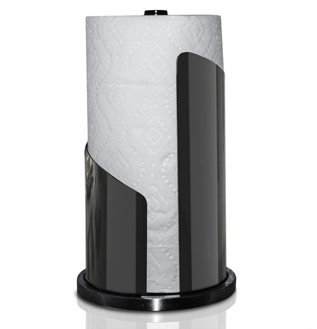 UpGood Countertop Paper Towel Holder with Brushed Stainless Steel and Iron Accents | Vertical Roll Dispenser (Large Stand, Black)
