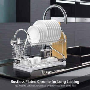 On amazon dish drying rack ace teah upgrade 2 tier plated chrome dish dryer rack with utensil holder cutting board holder and kitchen dish drainer for kitchen counter top 17x9 7x14 6inch silver