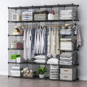 Shop for yozo modular wire cube storage wardrobe closet organizer metal rack book shelf multifuncation shelving unit 25 cubes depth 14 inches black