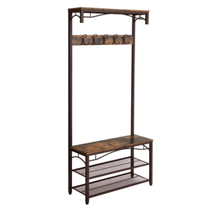Selection songmics vintage coat rack 3 in 1 hall tree entryway shoe bench coat stand storage shelves accent furniture metal frame large size uhsr45ax