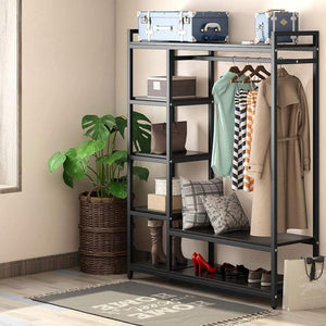 Top rated little tree free standing closet organizer heavy duty closet storage with 6 shelves and handing bar large clothes storage standing garmen rack black