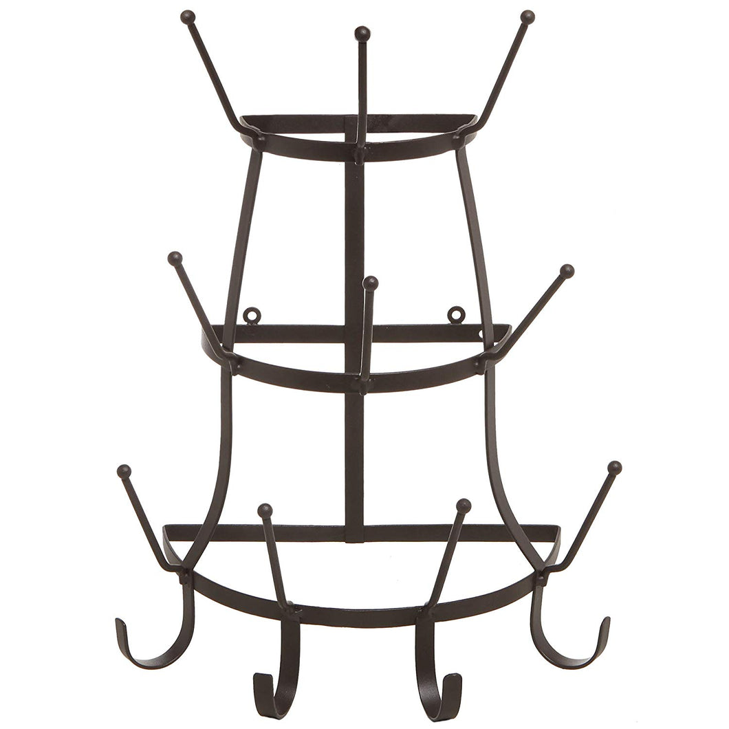 Vintage Rustic Brown Metal Wall Mounted 14 Hook Bottle & Mug Storage Organizer Tree Drying Rack - MyGift®
