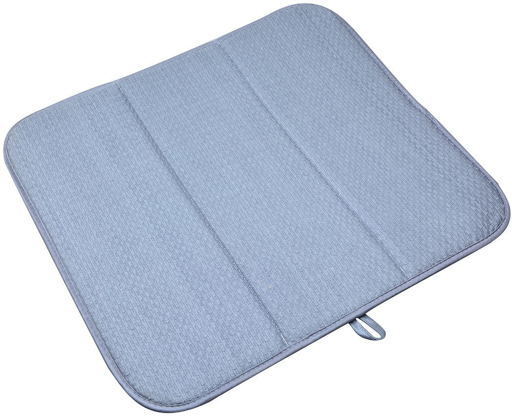 SINLAND Microfiber Dish Drying Mat Super Absorbent Dish Drying Rack Pads Kitchen Counter Mat 16Inch X 18Inch Grey