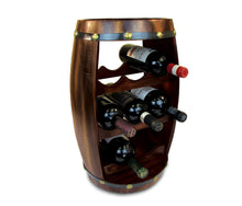 Top rated puzzled alexander wine rack 8 bottle free standing wine holder bottle rack floor stand or countertop wine wooden barrel decor storage organizer liquor display to decorate home kitchen bar accessory