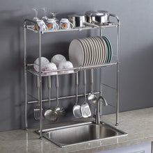Great delite home 2 tier stainless steel over sink dish drying rack counter top dish rack dish shelf dish collector silver single groove