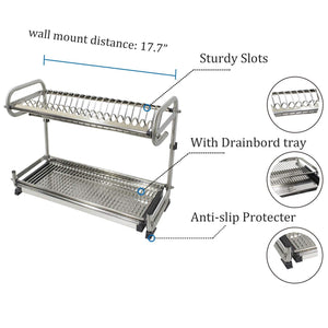 Products 2 tier kitchen cabinet dish rack 19 3 wall mounted stainless steel dish rack steel dishes drying rack plates organizer rubber leg protector with drain board