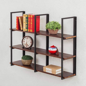 Discover the warm van industrial vintage 36 in wood iron floating storage shelves hanging shelf wall mounted bookcase living room bedroom diy wall rack
