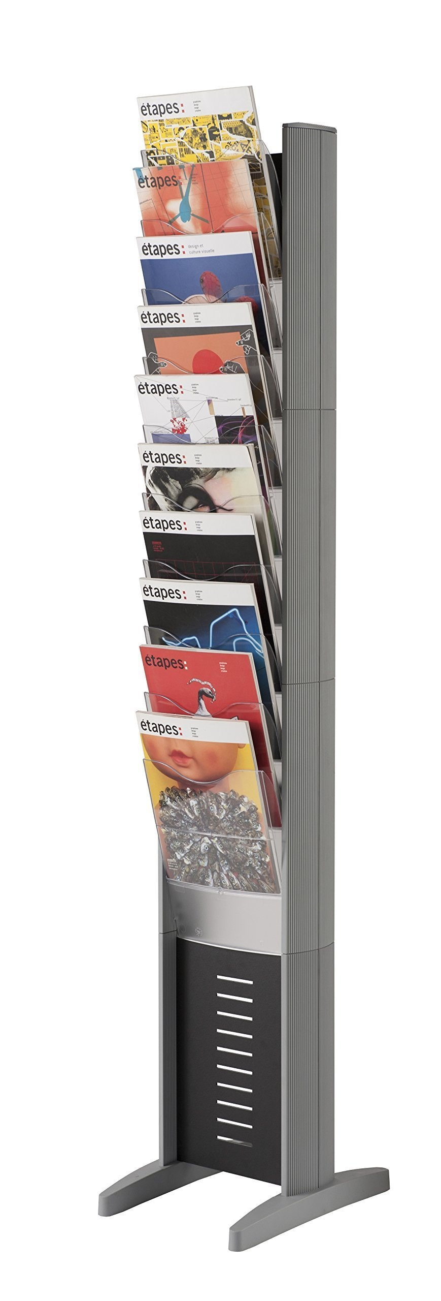 Great paperflow epi single sided literature display rack 10 pockets letter size 63 78 x 11 8 x 15 17 inches silver 278n 35