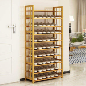 Buy dulplay bamboo shoe rack 100 solid wood function assemble entryway shelf stand shelves stackable entryway bedroom 3 10 tier 6 40 shoes b 79x25x155cm31x10x61inch