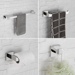 Shop here luckin towel bar set chrome polish modern bathroom accessories set silver hardware bath towel rack set with toilet paper holder 4 pcs