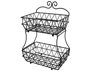 Upgraded Version - ESYLIFE 2 Tier Fruit Bread Basket Display Stand - Screws Free Design - Shining Gold Color