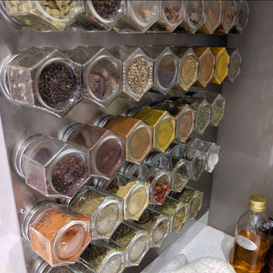New gneiss spice everything spice kit 24 magnetic jars filled with standard organic spices hanging magnetic spice rack large jars silver lids