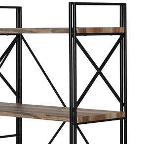 Top homissue 4 shelf industrial double bookcase and book shelves storage rack display stand etagere bookshelf with open 8 shelf retro brown 64 2 inch height