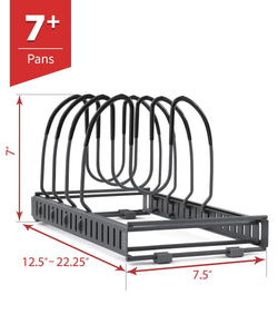 The best 7 pans expandable pan and pot organizer rack separable or expandable frames 7 adjustable compartments kitchen cast iron skillets bakeware plate lid holder pantry