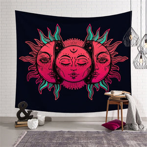 Psychedelic Celestial Red Sun and Moon with Fractal Faces Decor Tapestry Wall Hanging Hippie Celestial Energy Mystic Art Print for Window Curtain Table Cover Bedspread Beach Towel HYC44-16-L