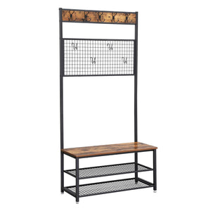 Purchase vasagle industrial coat stand shoe rack bench with grid memo board 9 hooks and storage shelves hall tree with stable metal frame rustic brown uhsr46bx