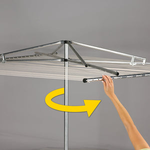 Great household essentials 17130 1 rotary outdoor umbrella drying rack aluminum 30 lines with 210 ft clothesline