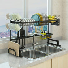 Top dish drying rack over sink display stand drainer stainless steel kitchen supplies storage shelf utensils holder kitchen supplies storage rack 85cm black