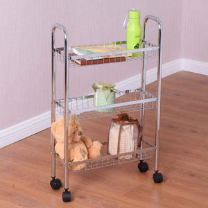 Results giantex 3 tier metal storage rack baskets shelving home kitchen office garage w wheels