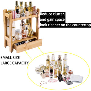 Storage organizer pelyn makeup organizer cosmetic storage vanity shelf display stand rack with drawer ideal for bathroom sink countertop dresser natural bamboo