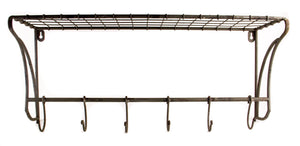 Online shopping rustic wire wall shelf hanging rack with hooks 23x 10x 8