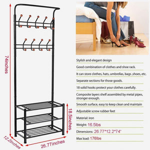 Discover fyheart heavy duty coat shoe entryway rack with 3 tier shoe bench shelves organizer with coat hat umbrella rack 18 hooks for hallway entryway metal black