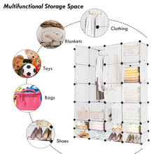 Results tangkula portable clothes closet wardrobe bedroom armoire diy storage organizer closet with doors 16 cubes and 8 shoe racks