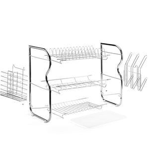 Best seller  glotoch dish drying rack 3 tier dish rack with utensil holder cup holder and dish drainer for kitchen counter top plated chrome dish dryer silver 17 2 x 9 5 x 15 inch