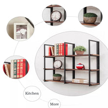 Exclusive warm van industrial vintage 36 in wood iron floating storage shelves hanging shelf wall mounted bookcase living room bedroom diy wall rack