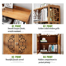 Home dulplay wood en bookcase with doors thickened floor standing orchard hills library easy assembly multifunctional tall bookshelf storage rack for home c 69x30x164cm27x12x65inch