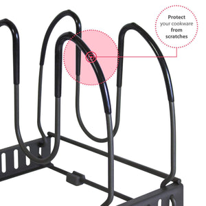 Try 7 pans expandable pan and pot organizer rack separable or expandable frames 7 adjustable compartments kitchen cast iron skillets bakeware plate lid holder pantry