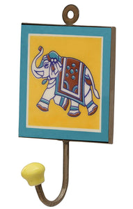 "SouvNear 4"" Ceramic Coat and Hat Hook Mothers Day Gifts - Elephant Design Wall-Mounted Yellow & Blue Single Hook in Ceramic and Mtal - Decorative Hooks For Hanging - Antique-Look Wall Décor"