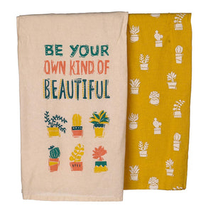 "Primitives by Kathy Kitchen Dish Towel Set, Be Your Own Kind Of Beautiful, Cactus-Patterned Towels, 28"" Square Dishtowels"