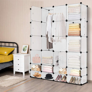 Shop tangkula portable clothes closet wardrobe bedroom armoire diy storage organizer closet with doors 16 cubes and 8 shoe racks