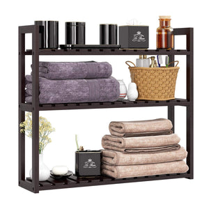 Top homfa bamboo shelf 3 tier utility storage organizer adjustable layer rack bathroom towel shelves multifunctional kitchen living room holder wall mounted retro color