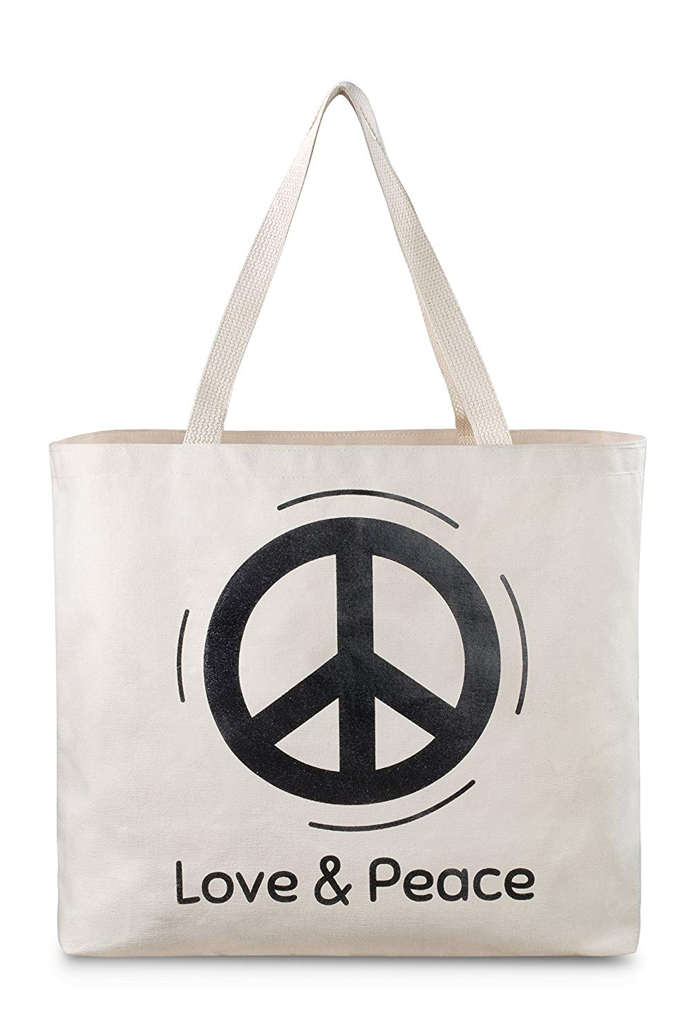 Reusable Canvas Bag - Tote Bag with Printed Love and Peace Theme. Double Stitched with Sturdy Shoulder Straps. Great Bag for Grocery Shopping. Made in USA (Love and Peace)