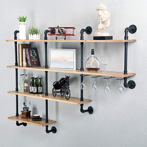Discover mbqq 4 tiers 63inch industrial pipe shelving rustic wooden metal floating shelves home decor shelves wall mount with wine rack decorative accent wall book shelf for kitchen or office organizer black