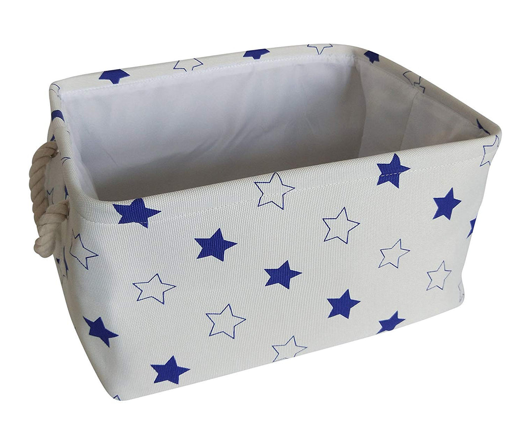 Rectangular Fabric Storage Bins/Collapsible Organization Baskets for Nursery,Closet,Toy and More (Blue Stars)
