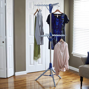 Top rated household essentials 5012 1 portable 2 tier clothes drying rack tri pod dry wet laundry or hang clothes silver and blue