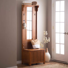 The best wooden entryway tall hall tree bench coat and hat rack with mirror in oak finish with 2 double hooks in antique bronze storage bench base and a full length central mirror