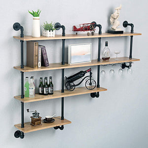 Cheap mbqq 4 tiers 63inch industrial pipe shelving rustic wooden metal floating shelves home decor shelves wall mount with wine rack decorative accent wall book shelf for kitchen or office organizer black