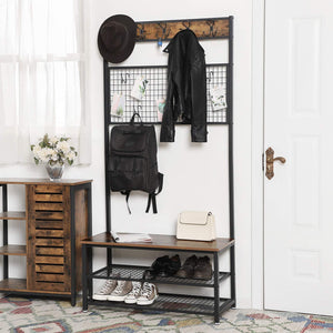 Selection vasagle industrial coat stand shoe rack bench with grid memo board 9 hooks and storage shelves hall tree with stable metal frame rustic brown uhsr46bx