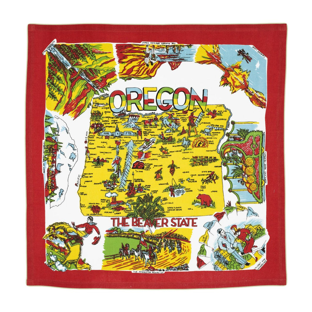 Retro Oregon State Map Kitchen Towel