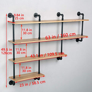 Buy mbqq 4 tiers 63inch industrial pipe shelving rustic wooden metal floating shelves home decor shelves wall mount with wine rack decorative accent wall book shelf for kitchen or office organizer black