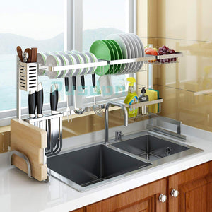 Related dish drying rack over sink drainer shelf for kitchen supplies storage counter organizer utensils holder stainless steel display kitchen space save must have sink size 33 1 2 inch silver
