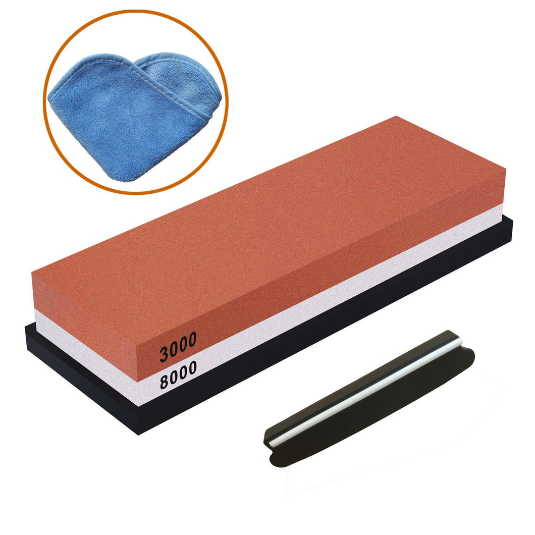 Whetstone, Iwivi Double-Side Knife Sharpening Stone Set Grit 3000//8000 Knife Sharpener Combination Waterstone Kits with Non-slip Silicone Base, Angle Guide and Cleaning Towel (3000#/8000#)