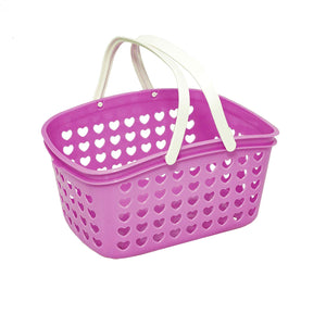 Plastic Organizing Storage Basket with Handles and Holes - Small Bin for Shower, Closet, Kitchen, Garden, Bathroom, Toys, Candy by Valenoks (Lilac)