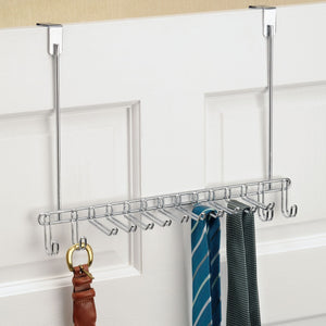 The best mdesign metal over door hanging closet storage organizer rack for mens and womens ties belts slim scarves accessories jewelry 4 hooks and 10 vertical arms on each 2 pack chrome 1
